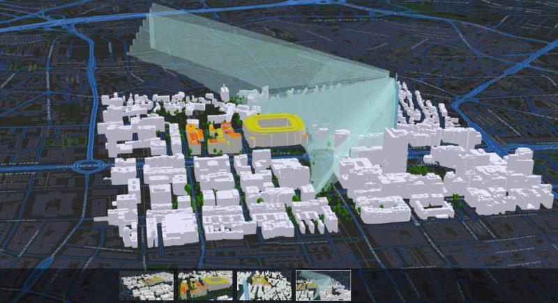 Mapa: Radiación solar en edificios